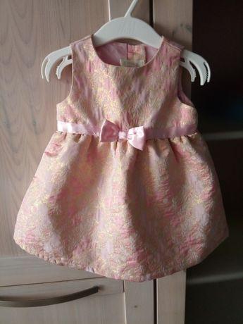 NOWA sukienka H&M na chrzest wesele połyskująca różowa r. 68