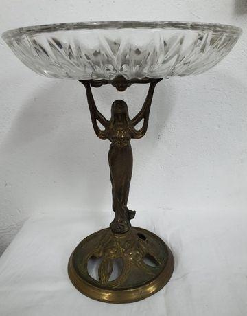Kolekcjonerska patera z mosiądzu i szkła kryształowego