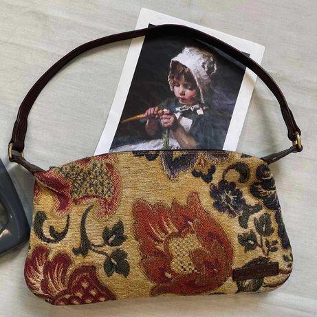 гобеленовая сумка с кожаными ручками