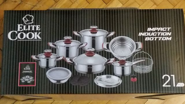 Garnki Elite Cook - 21 elementów
