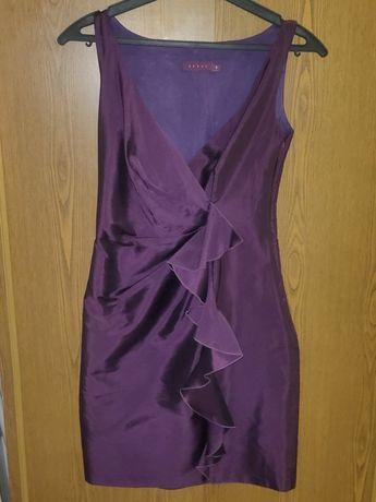 Коктейльное, вечернее платье миди, футляр, с воланами, на Новый год