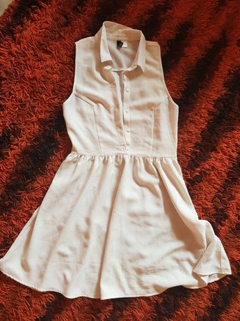 Sukienka koszulowa biała mgiełka H&M