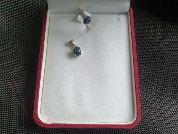Pierścionek srebrny z szafirem gwiaździstym Starshapire