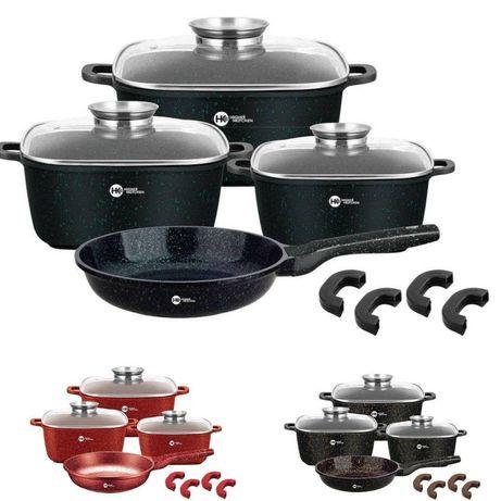 Набор кастрюль и сковорода Higher Kitchen HK-312, Набор посуды с грани
