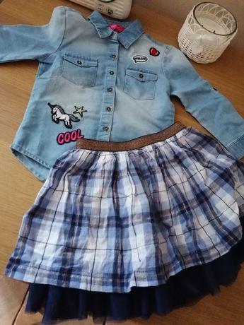 Zestaw koszula jeansowa i spódniczka 3/4 lata