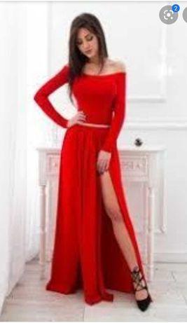 Piękna czerwona długa suknia wieczorowa - rozmiar L