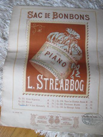 Partitura Musical Piano Antiga - Sac de Bonbons