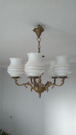 Piękny zabytkowy żyrandol, 5 lamp i piękne klosze