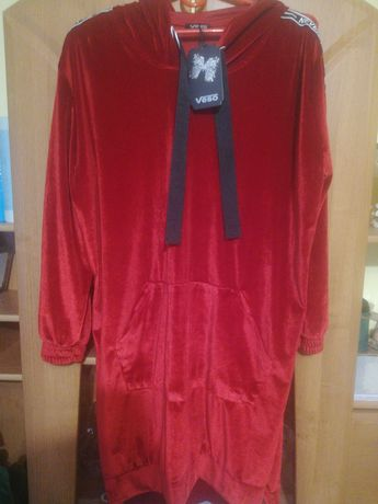 Nowa bawełniana bluza długa welur xxl