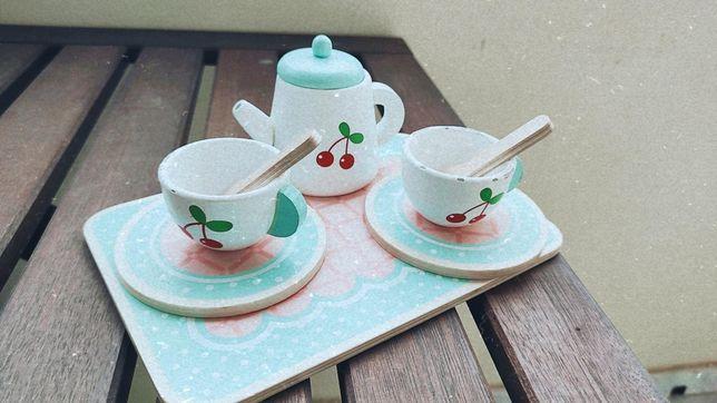 Conjunto chá em madeira