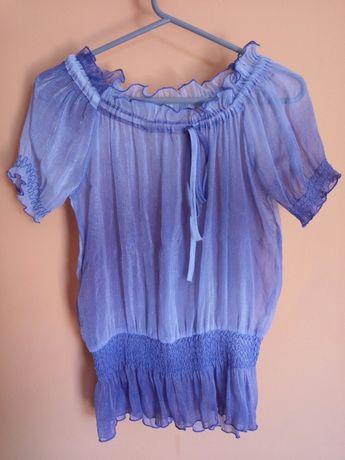 Bluzka hiszpanka niebieska