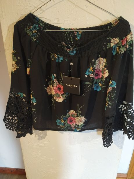 Bluzka krótka długi rękaw czarna kwiaty 34 parisian koronka