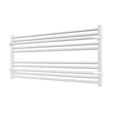 Biały poziomy grzejnik łazienkowy LIMA 50 x 100 z wieszakami