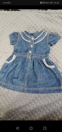 Jeansowa sukienka z ozdobnym haftem 68-74