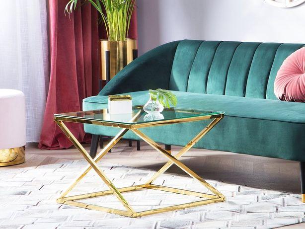Mesa de centro dourada com tampo de vidro BEVERLY - Beliani