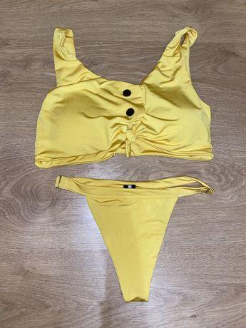 Купальник женский, жёлтый, яркий, раздельный, размер s