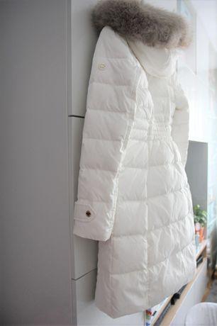 Nowy płaszcz puchowy Michael Kors rozm S złamana biel taliowany kaptur