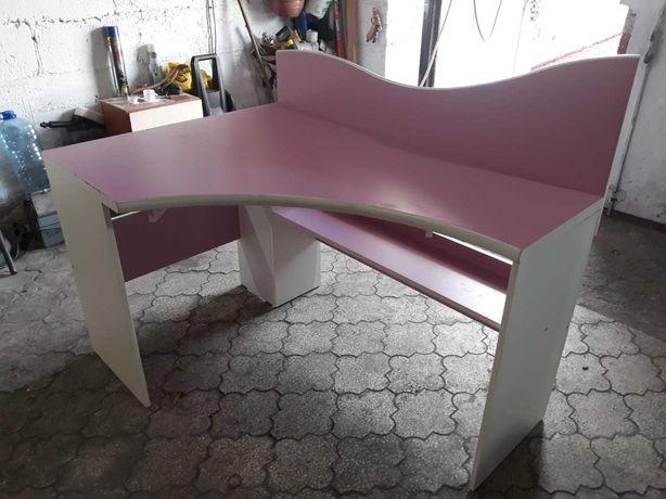 Biurko narożne różowo białe