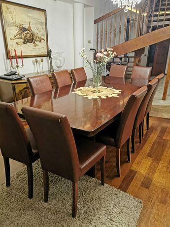 Duży stół nierozkładany wenge + 12 krzeseł