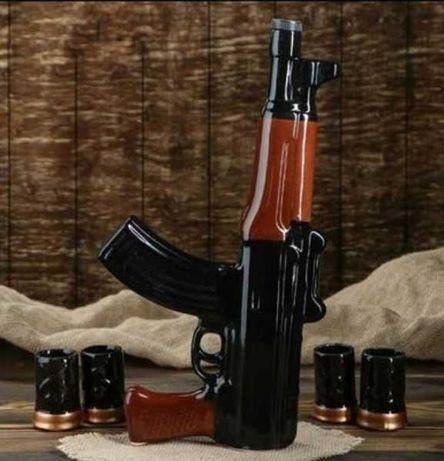 Автомат бутылка, подарок мужчине, АК-47, калаш бутылка,набор с рюмками