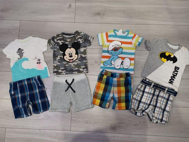 Spodenki+koszulki r.74/80 paczka ubranek na lato