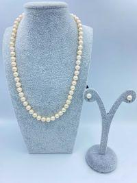 Złote kolczyki z perłą + naszyjnik