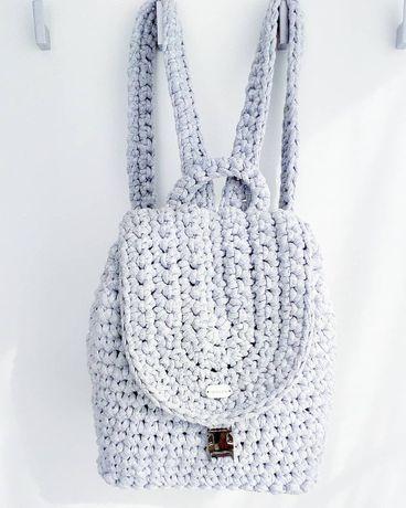 Plecak na szydełku szary handmade rękodzieło ze sznura torba z bawełny