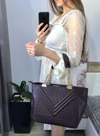 Fioletowa, trapezowa torebka na ramię, łańcuch, torba New Look!