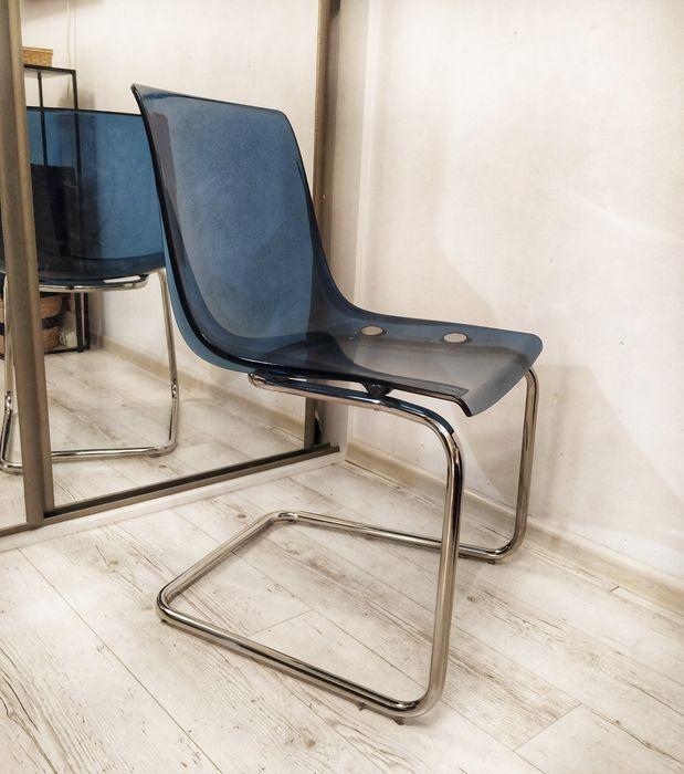 Krzesło Tobias IKEA. Do jadalni. Niebieskie. Jadalnia. Przeźroczyste Kraków - image 1