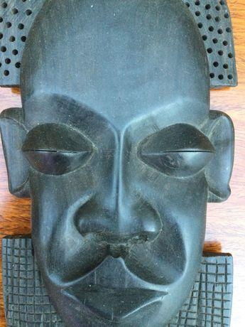 Máscara tribal pau-preto África do Sul Ébano Antiga 25 cm