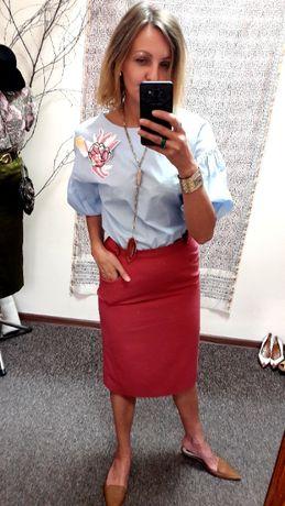 Bluzka KOTON 34 36 błękit kobieca haft bawełna