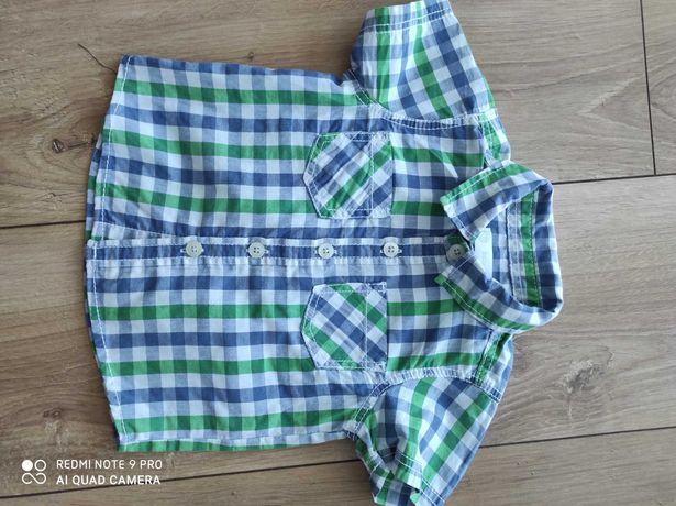 Rozpinana bluzka, koszulka dla chłopca z krótkim rękawem rozmiar 80