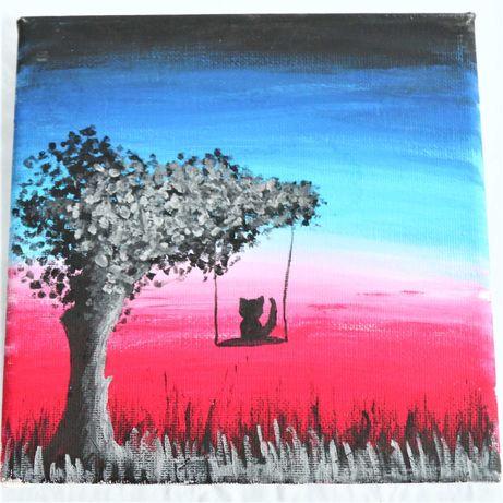 Tela «Baloiço de Árvore» em tinta acrílica