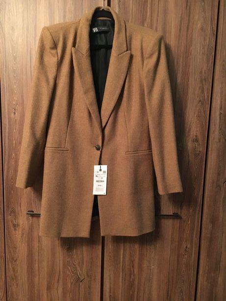 NOWY przejściowy płaszcz /surdut Zara r. XL karmel/beż 100% wełna wool