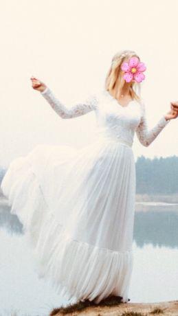 Suknia Ślubna boho rustykalna długi rękaw