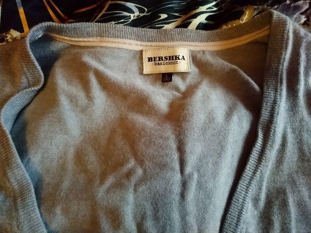 Sweterek szary Bershka L 40 rozpinany na guziki