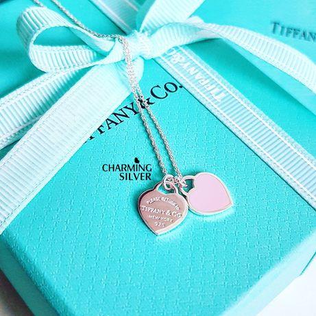 Серебряная двойная подвеска в форме сердца с розовой эмалью Tiffany