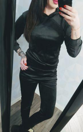 Nowy dres damski welurowy czarny s m