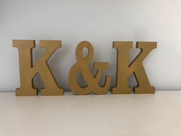 Litery drewniane złote na ślub komplet 3