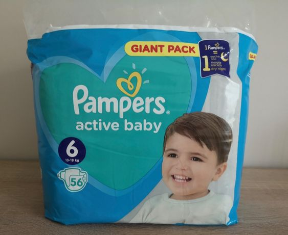 Pieluchy PAMPERS 6. 56 szt, 13-18 kg active baby