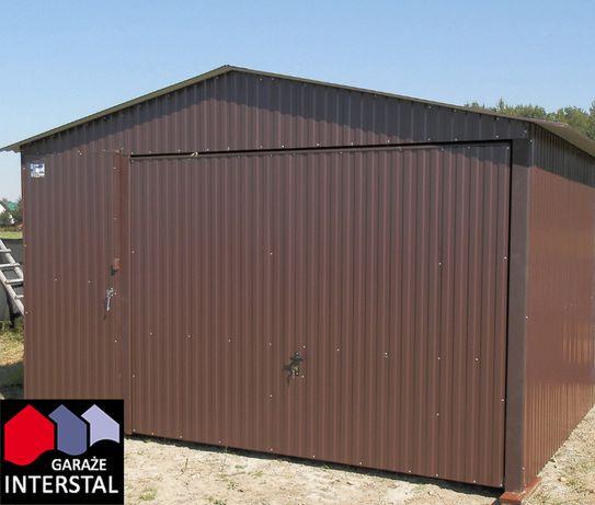 Garaże Blaszane 4x6 RAL Brąz garaż blaszany dwuspadowy+dodatkowe drzwi