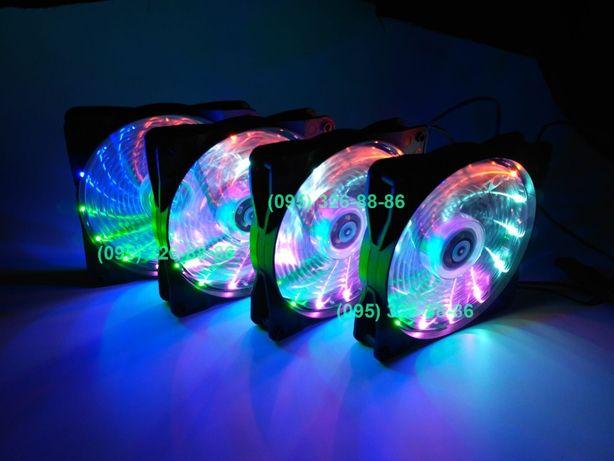 Вентилятор для корпуса компьютера 120 мм RGB LED кулер новые есть опт
