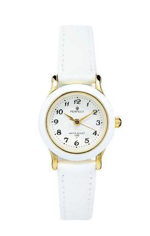 PERFECT zegarek dziecięcy biało złoty na skorzanym pasku j. NOWY