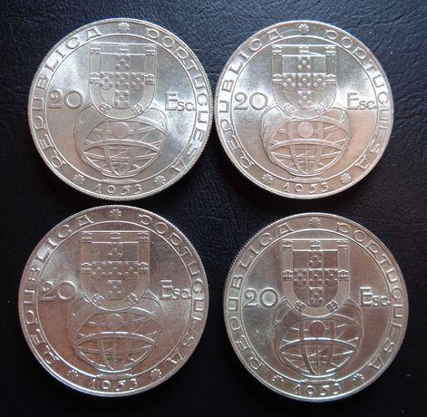 Lote 4 moedas 20 escudos prata 1953