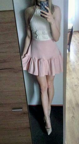 Piękna sukienka wesele pudrowy róż ecru falbanka
