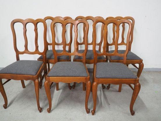 Dębowy komplet 6 krzeseł ludwikowskich 178