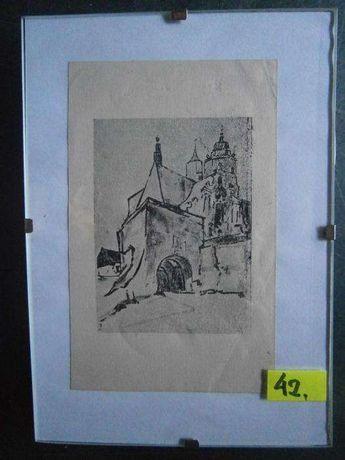 Obraz , Lublin , grafika , wym. 10x15 cm.