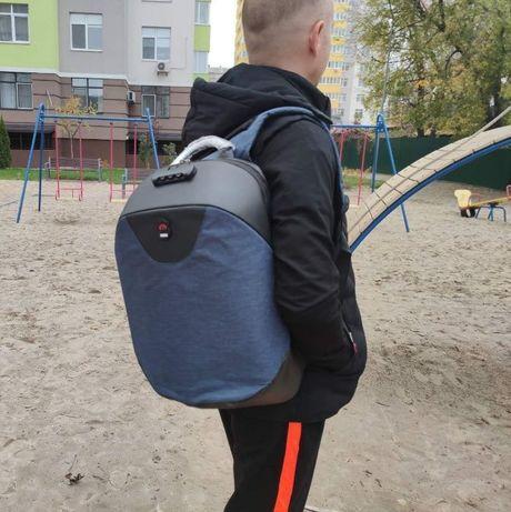 Рюкзак городской Meijie Luo Blue Антивор С USB Мужской Женский дл ноут