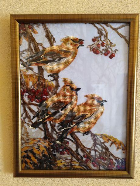 Картина бисером птицы