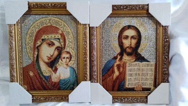 """Венчальная пара икон  гобелен """"Спаситель и Божья Матерь""""."""